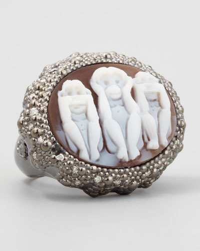 Three Wise Monkeys See No Evil Diamond-Trim Cameo Ring, 0.15ct