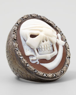 AMEDEO Black Diamond-Trim Pirate Skull Cameo Ring