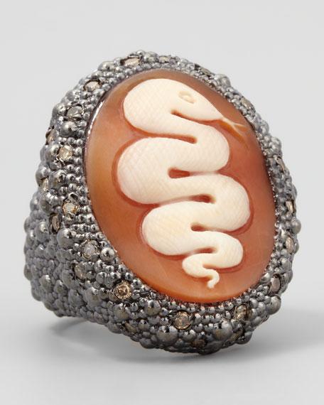 Diamond-Trim Hand-Carved Snake Cameo Ring
