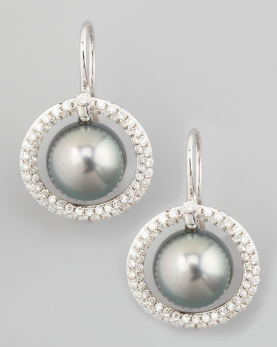 Eli Jewels Gray South Sea Pearl & Diamond Halo Earrings, 1.15ct