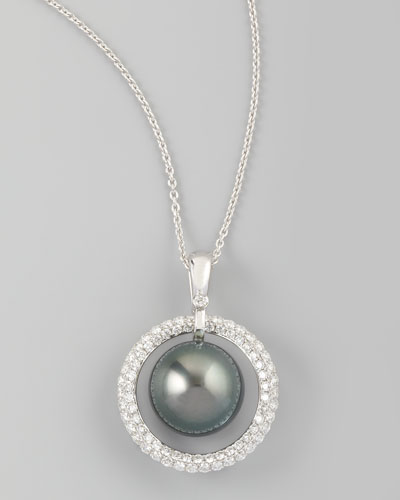 Eli Jewels Gray South Sea Pearl & Diamond Halo Necklace, 0.70ct