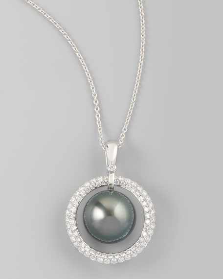 Gray South Sea Pearl & Diamond Halo Necklace, 0.70ct