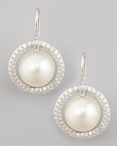 Eli Jewels White South Sea Pearl & Diamond Halo Earrings, 1.15ct