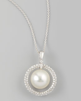 Eli Jewels White South Sea Pearl & Diamond Halo Necklace, 0.72ct