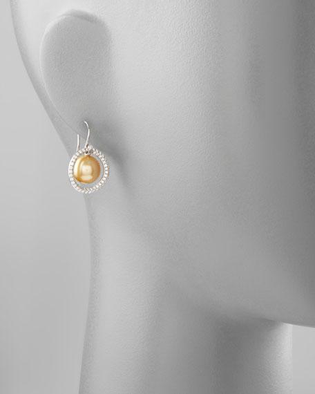 Golden South Sea Pearl & Diamond Halo Earrings, 1.15ct