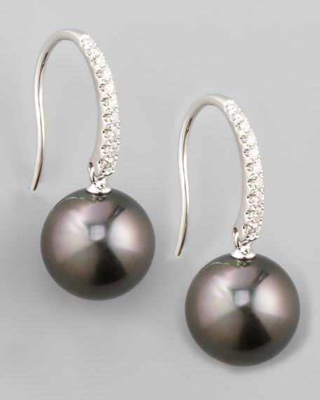 Gray South Sea Pearl & Diamond Drop Earrings, 0.16ct