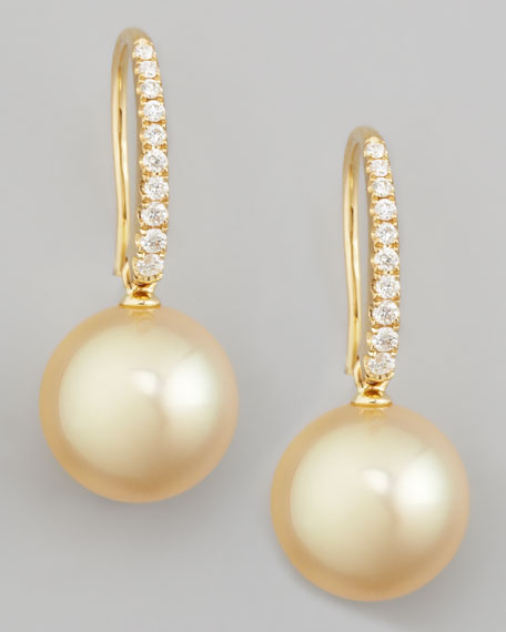 Golden South Sea Pearl and Diamond Drop Earrings, Yellow Gold