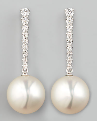 Eli Jewels White South Sea Pearl & Diamond Bar Drop Earrings