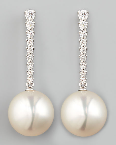 White South Sea Pearl & Diamond Bar Drop Earrings