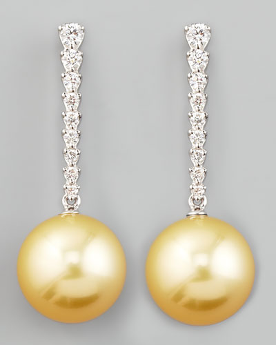 Golden South Sea Pearl & Diamond Bar Drop Earrings
