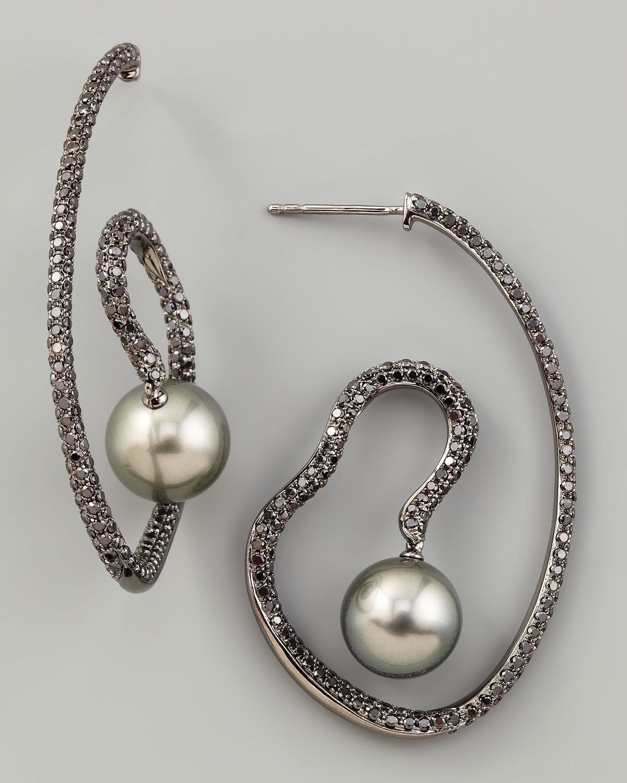 Gray Pearl & Black Diamond Spiral Earrings