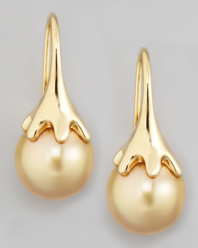 Eli Jewels Golden South Sea Pearl Drop Earrings