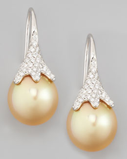 Eli Jewels Golden South Sea Pearl and Diamond Drop Earrings, White Gold