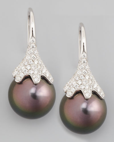 Eli Jewels Gray South Sea Pearl & Diamond Drop Earrings, 0.56ct