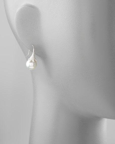 White South Sea Pearl & Diamond Drop Earrings, 0.56ct