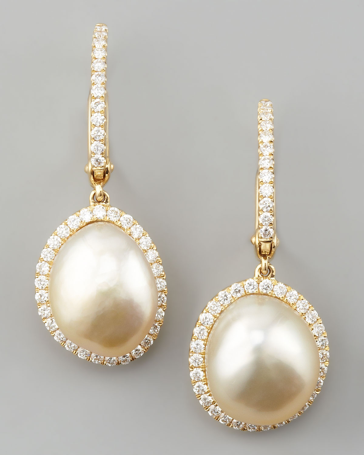 White South Sea Pearl Diamond Framed Drop Earrings Yellow Gold