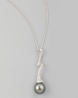 Eli Jewels Gray South Sea Pearl & Diamond-Swirl Pendant Necklace