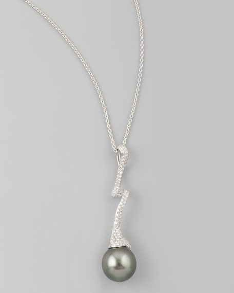 Gray South Sea Pearl & Diamond-Swirl Pendant Necklace