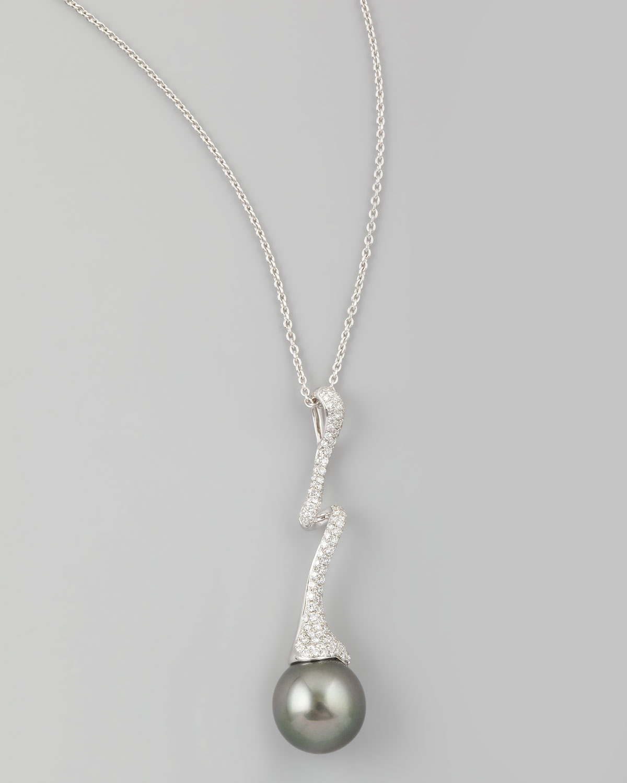Gray South Sea Pearl & Diamond-Swirl Pendant Necklace