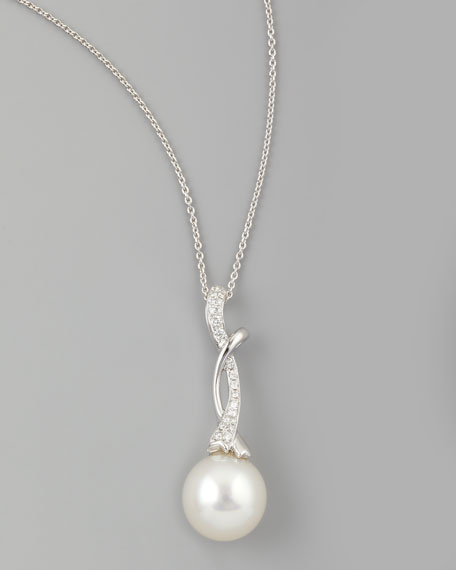 White South Sea Pearl & Diamond-Swirl Pendant Necklace