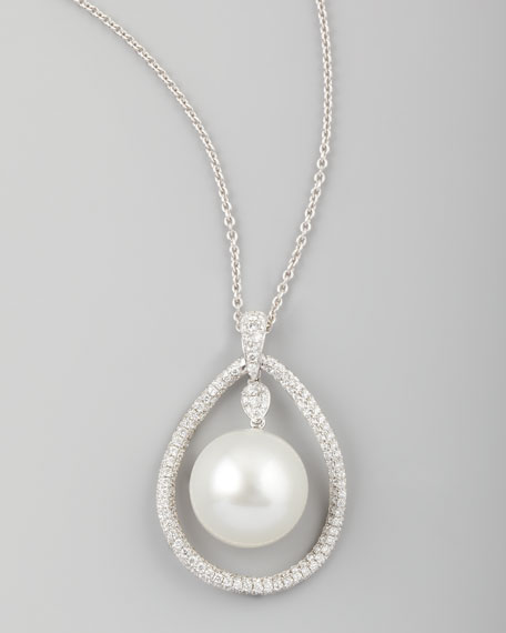 White South Sea Pearl & Diamond-Teardrop Necklace, 1.42ct