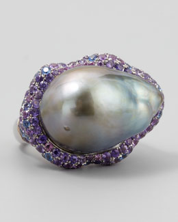 Eli Jewels Gray Pearl Halo Ring with Blue and Purple Sapphire