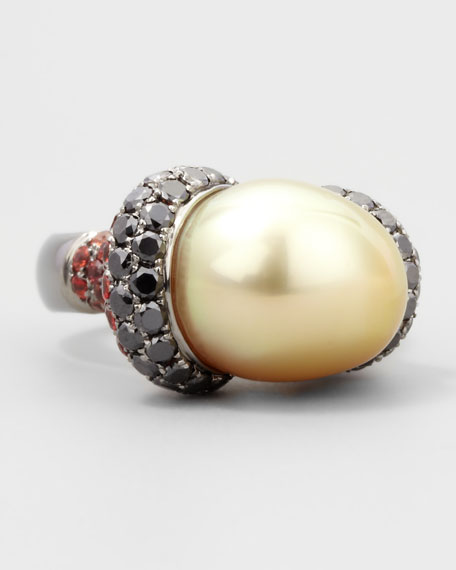 Golden Pearl Ring with Black Diamond and Sapphire