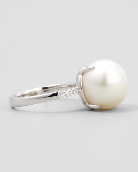 White South Sea Pearl & Diamond Ring