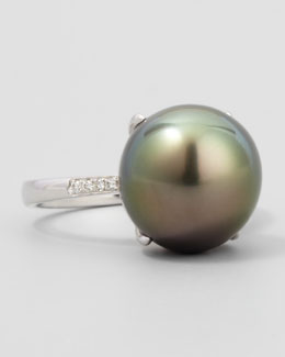 Eli Jewels Gray South Sea Pearl & Diamond Ring