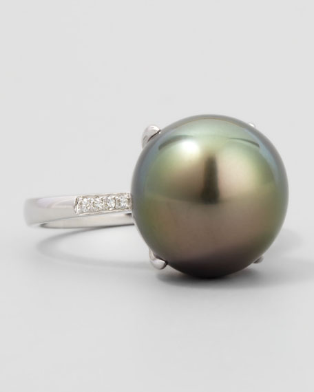 Gray South Sea Pearl & Diamond Ring