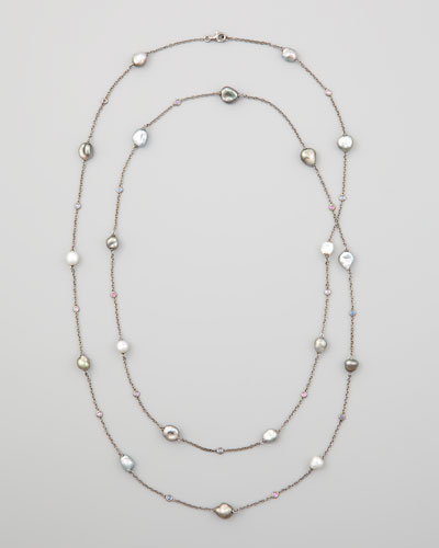 "Eli Jewels Gray Keshi Pearl & Sapphire Station Necklace, 42""L"