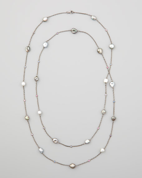 """Gray Keshi Pearl & Sapphire Station Necklace, 42""""L"""