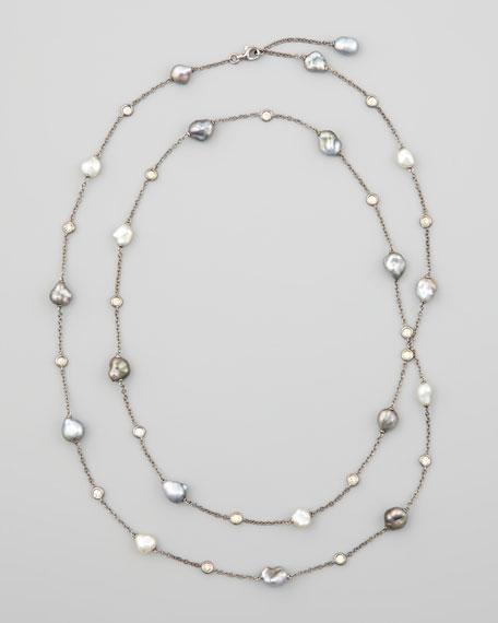"18k Gray Keshi Pearl & Diamond Station Necklace, 36""L"
