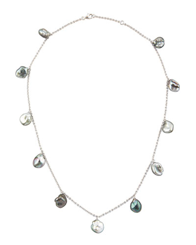 18k White Gold Gray Keshi Pearl Necklace, 16