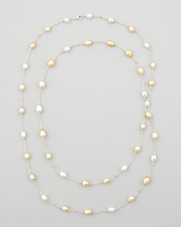 "Eli Jewels White/Golden Keshi Pearl & Diamond Necklace, 40""L"
