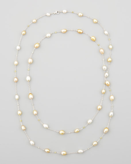 Eli Jewels White/Golden Keshi Pearl & Diamond Necklace,