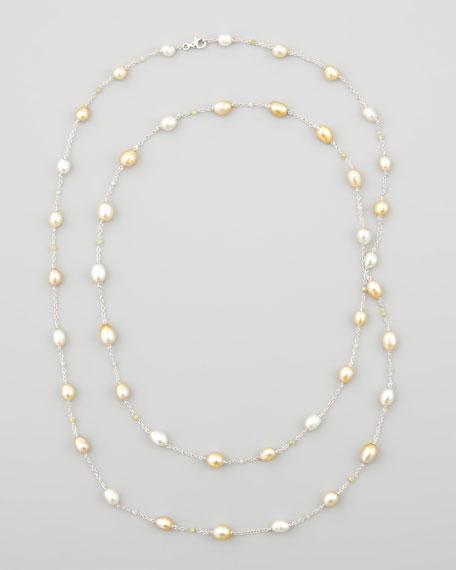 "White/Golden Keshi Pearl & Diamond Necklace, 40""L"