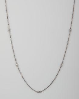 "Eli Jewels White/Black Diamond-Station 18k Chain Necklace, 36""L"