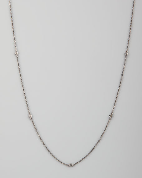 "White/Black Diamond-Station 18k Chain Necklace, 36""L"