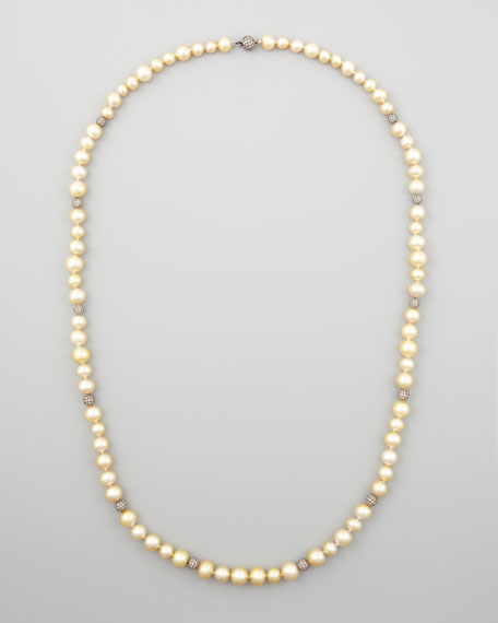 "Golden South Sea Pearl & Pave Diamond Necklace, 38""L"