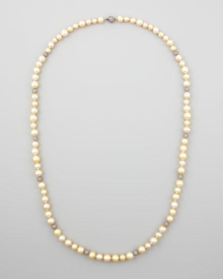 "Golden South Sea Pearl & Pave Diamond Necklace, 38""L"