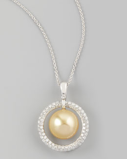 Eli Jewels Golden South Sea Pearl & Diamond Halo Necklace, 0.7ct
