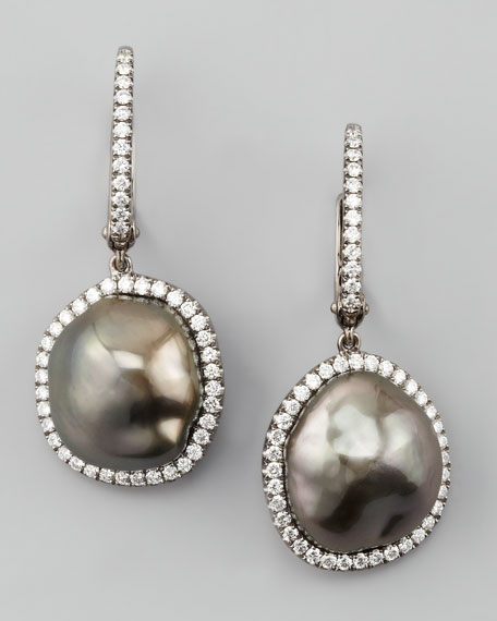 Antique Gray South Sea Pearl and Diamond Framed Drop Earrings, White Gold