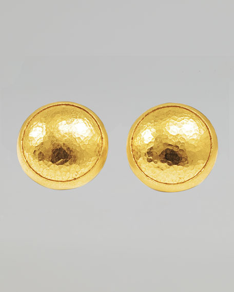 Amulet 24k Gold Round Stud Earrings