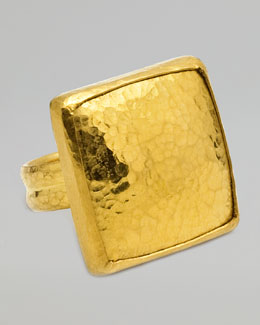 Gurhan Amulet 24K Gold Large Square Ring