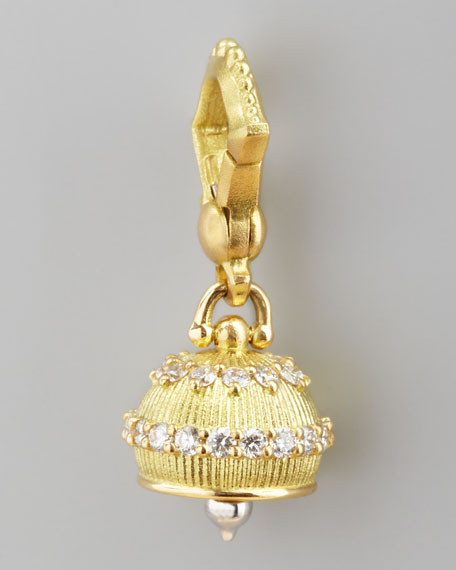 18k Granulated Meditation Bell Pendant, 10mm