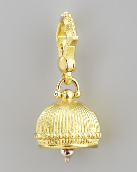 18k Ridged Meditation Bell Pendant, 10mm