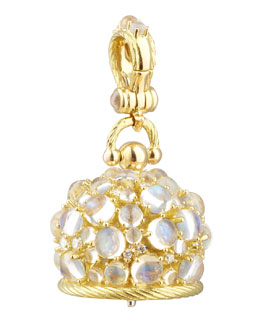 Paul Morelli 18k Moonstone/Diamond Meditation Bell Pendant, 20mm