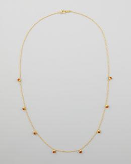 """Paul Morelli 18k Mini Jingle Bell Citrine Necklace, 28""""L"""