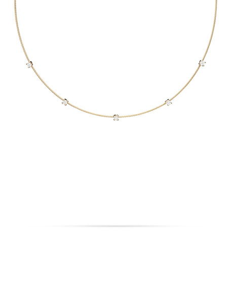 18k Yellow Gold Rope 5-Diamond Necklace, 1.10 TCW